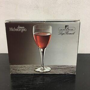 Michelangelo Luigi Bormioli 6 Blown crystal Red Wine Glasses C32