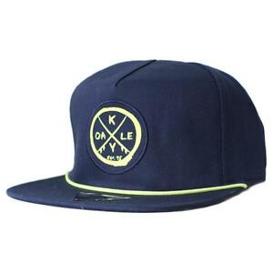 Oakley Snapback Patch Cap Dark Denim Navy Yellow Logo Adjustable Baseball Hat