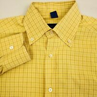 Jeff Rose Men's Button Up Shirt Long Sleeve Size Medium Check Yellow Italy