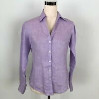 346 Brooks Brothers Purple Linen Button Down Shirt Women's Size 8 Petite