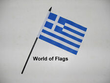 "GREECE SMALL HAND WAVING FLAG 6"" x 4"" Greek Flags Crafts Table Desk Top Display"