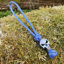 Lanyard for Knife Paracord 550Typ III Handmade with Titan Skull Blau weiß