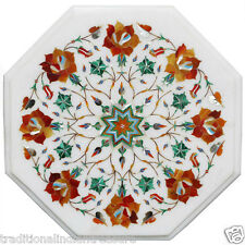 White Marble Small Coffee Center Table Top Carnelian Inlay Floral Arts Decor