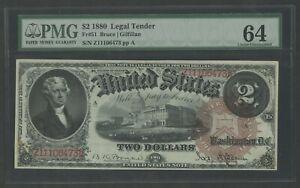 FR51 $2 1880 LEGAL TENDER PMG 64 VERY CHOICE UNC WLM8520