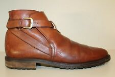 Bally Brown Leather Chelsea Buckle Ankle Boots Shoes Made In Italy Mens Sz 12 D