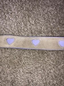 Girls Gap Belt Vintage Beige Suede Leather With Purple Hearts Size S (4-6) NWT