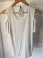 H&M Divided Short Sleeve Cold Shoulder Top Beige Cream Marle Sz XS NEW