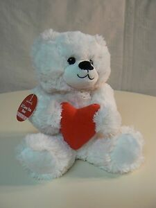 Hallmark LI'L LOVE YOU BEAR plush White Bear with RED HEART - NEW with tags