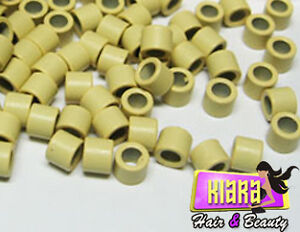 200 to 1000 Micro Rings Screw Thread for Hair Extensions BLONDE 4mm