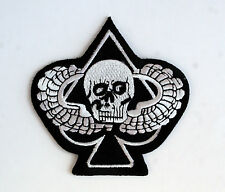 ACE OF SPADES SKULL PARACHUTE JUMP WING PATCH GRIM REAPER DEATH CARD PIN UP WOW