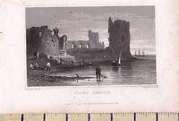 C1815 Antico Piccolo Georgiano Stampa ~ Flint Castle Galles ~ Mare Spiaggia