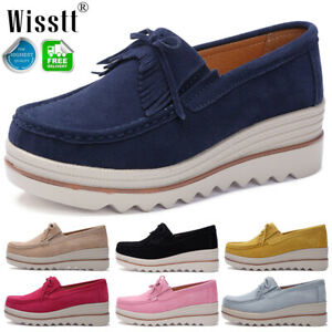 Women's Wedge Heel Loafers Pumps Ladies Casual Platform Moccasins Shoes Size UK