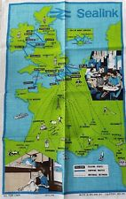 Vintage 'SEALINK' European Car Ferries FERRY Nautical 1970's Linen TEA TOWEL