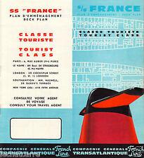 Paquebot - SS France - Plan d'Emménagement - Cie. Gle. Transatlantique - 1962
