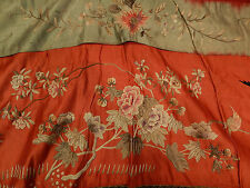 Antique Chinese Silk Floral Bird Embroidered Tassel Tapestry Banner Wall Hanging