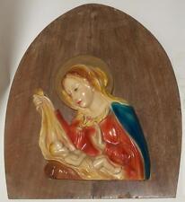 Icona metà900 scultura gesso legno Madonna Bambino Gesù ideale capoletto camera