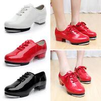 Newly Men Tap Dance Shoes Low Heel Faux Leather Dancing Shoes W/Plates 3 Colors