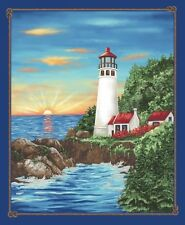 Lighthouse Wonders Cotton Quilt Fabric by Blank BTY  Lighthouse Panel 36x44