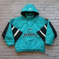 Vintage 90s San Jose Sharks Pullover Parka Jacket by Starter Size XL Rare