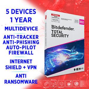 Bitdefender Total Security Multidevice 2021 5 Geräte 1 Jahr VOLLVERSION Key +VPN