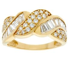 DIAMONIQUE 14K YELLOW GOLD ROUND AND BAGUETTE BAND RING SIZE 6 QVC $260.00