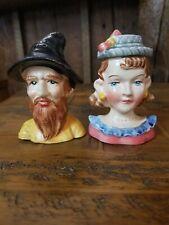 Vintage salt and pepper shakers 1717 Enesco Man & Woman Busts