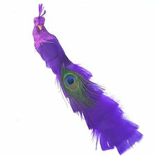 2 Purple Peacock Wedding Cake Topper Ornament Feather Bird Christmas Tree Clip