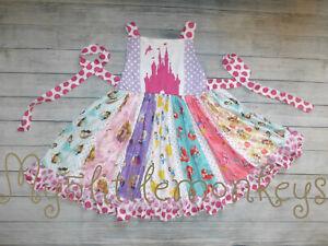 NEW Boutique Princess Ariel Cinderella Belle Rapunzel Girls Ruffle Twirl Dress