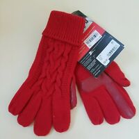 Isotoner Signature Womens Gloves 36766 smarTouch Textured Cable Knit Red OS