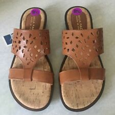 MILA PAOLI Brown Leather Flip Flop Sandal Shoes Size 8.5 M Italy New