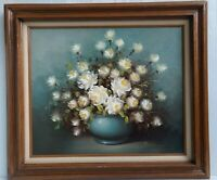 Certified Original Oil Painting Vase of White Flowers Signed Blaine 37x21 VTG