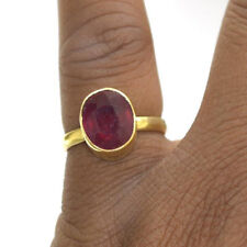 Natural Glass Filled Ruby Gemstone 14K Yellow Gold Handmade Ring Size 7