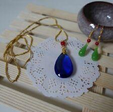 Howl's Moving Castle Hauru Blue Diamond Necklace Earring Set Cosplay Jewellery