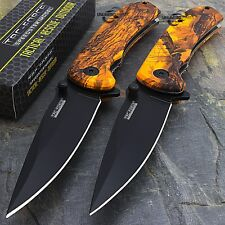 "2 x 8"" TAC FORCE EDC ORANGE CAMO SPRING ASSISTED TACTICAL POCKET KNIFE Open"