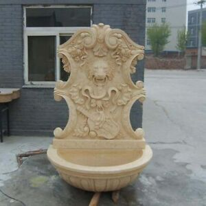 BEAUTIFUL CARVED ESTATE GARDEN MARBLE LION WALL FOUNTAIN,MARBLE FOUNTAIN