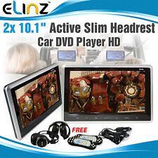 2x10.1 inch Slim Active Car headrest DVD Player HD Digital TFT Screen HDMI Game