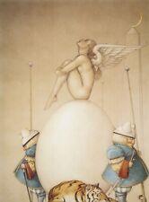 Michael Parkes WAITING nude angel egg pregnancy tiger moon surreal art print
