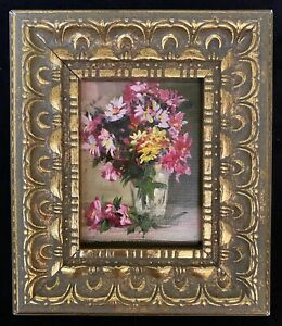 New Miniature Original Oil Painting Antique Style Still Life Flowers With Frame