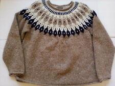 Eddie Bauer Yoke A Line Sweater Tan Cream Wool Blend Icelandic Style Size XL