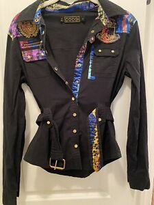 COOGI Womens Snap Up Belted Tab Sleeve Tunic Top S Black Embellished Logo