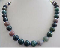 "Beautiful 10mm multi-color India agate gemstone round beads necklace 18"" AAA"