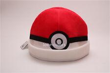 Cosplay New Costume Pokemon White Red Adult Soft Plush Hat Cap Beanie Pokeball