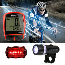 Waterproof Wireless Cycling Computer Speedometer Odometer + Bicycle Head Light