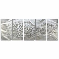 Abstract Modern Handmade Metal Artwork Silver Decor Huge Wall Sculpture - OOAK!