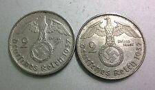 2 Rare Silver Nazi Coins WW2 German 2 Reichsmark 1937 E & F Swastika