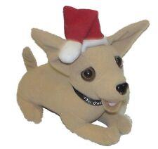 "Taco Bell Dog Chihuahua TALKING 6.5"" long Feliz Navidad Amigos in Santa Hat"