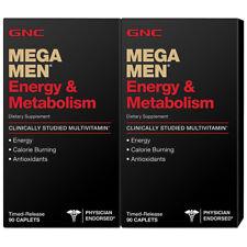 GNC Mega Men Energy & Metabolism Vitamins Supplements 180 Caplets - NEW