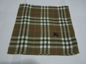 """USED  BROWN PLAID  PATTERN COTTON 18"""" POCKET SQUARE HANDKERCHIEF HANKY FOR MEN"""