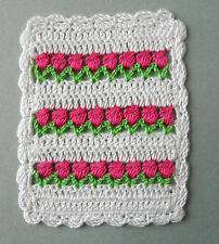 "Dollhouse Miniature Crochet Afghan/Blanket ~ Pink Flower ~3.5"" x 4.5"" ~Silk Yarn"
