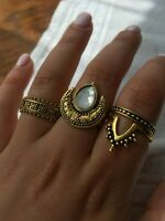 Gold Rings Jewellery Set Party Boho Ethnic Hippies Fashion 4 Pieces Size M